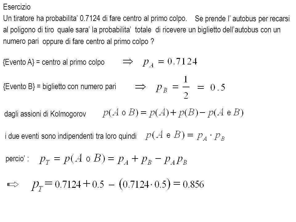 al poligono di tiro {Evento A} = centro al primo colpo {Evento B} = biglietto con numero pari i due eventi sono indipendenti tra loro quindi dagli assioni di Kolmogorov Esercizio Un tiratore ha probabilita 0.7124 di fare centro al primo colpo.