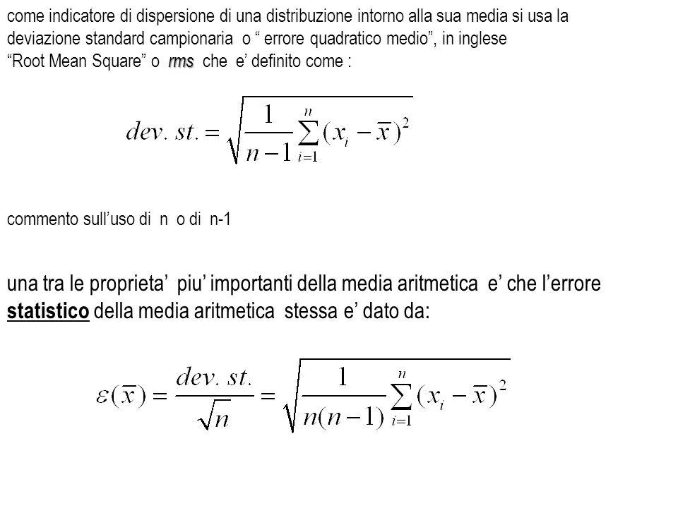 come indicatore di dispersione di una distribuzione intorno alla sua media si usa la deviazione standard campionaria o errore quadratico medio, in ing
