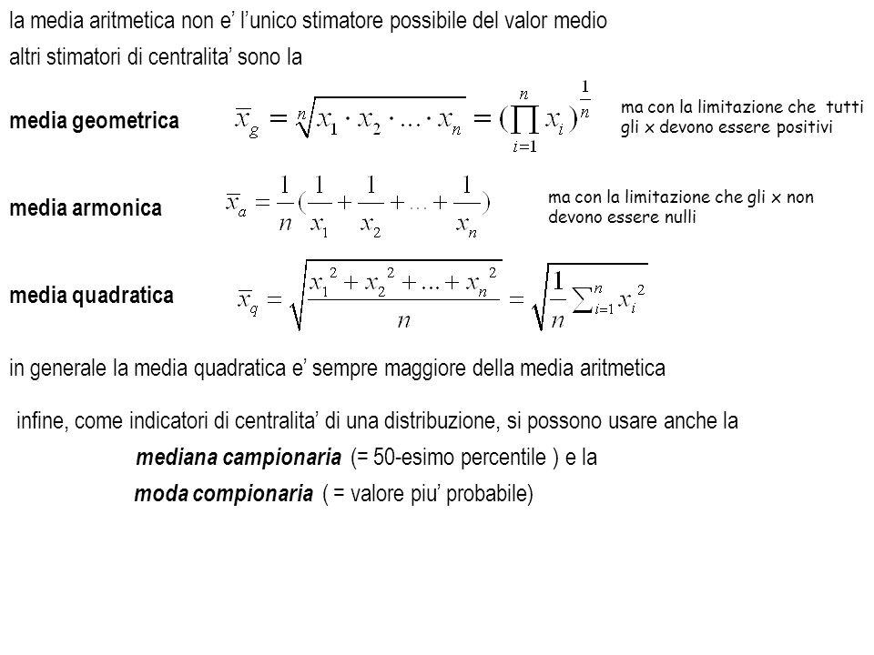la media aritmetica non e lunico stimatore possibile del valor medio altri stimatori di centralita sono la media geometrica ma con la limitazione che
