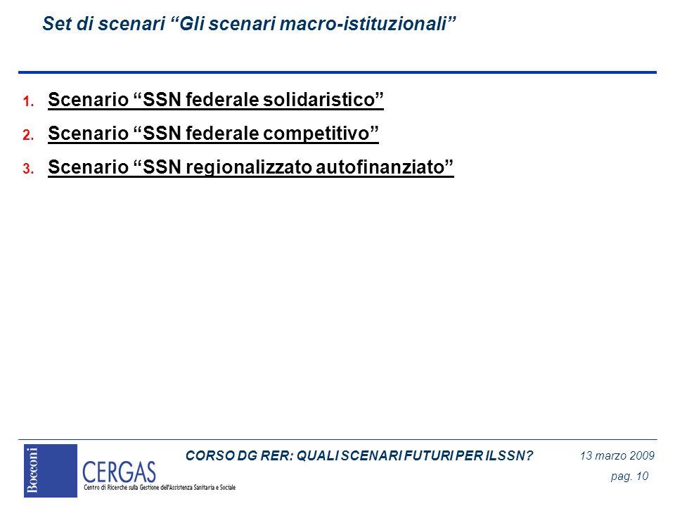 CORSO DG RER: QUALI SCENARI FUTURI PER ILSSN? 13 marzo 2009 pag. 10 Set di scenari Gli scenari macro-istituzionali 1. Scenario SSN federale solidarist