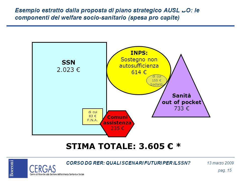 CORSO DG RER: QUALI SCENARI FUTURI PER ILSSN? 13 marzo 2009 pag. 15 Esempio estratto dalla proposta di piano strategico AUSL BO: le componenti del wel