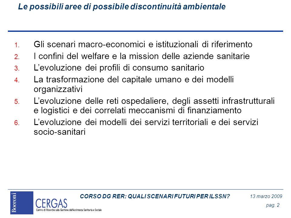 CORSO DG RER: QUALI SCENARI FUTURI PER ILSSN? 13 marzo 2009 pag. 2 Le possibili aree di possibile discontinuità ambientale 1. Gli scenari macro-econom