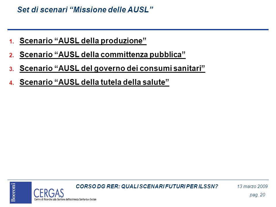 CORSO DG RER: QUALI SCENARI FUTURI PER ILSSN? 13 marzo 2009 pag. 20 Set di scenari Missione delle AUSL 1. Scenario AUSL della produzione 2. Scenario A