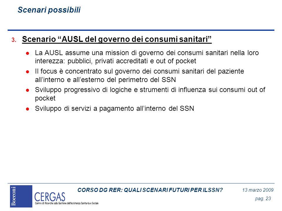 CORSO DG RER: QUALI SCENARI FUTURI PER ILSSN? 13 marzo 2009 pag. 23 3. Scenario AUSL del governo dei consumi sanitari l La AUSL assume una mission di