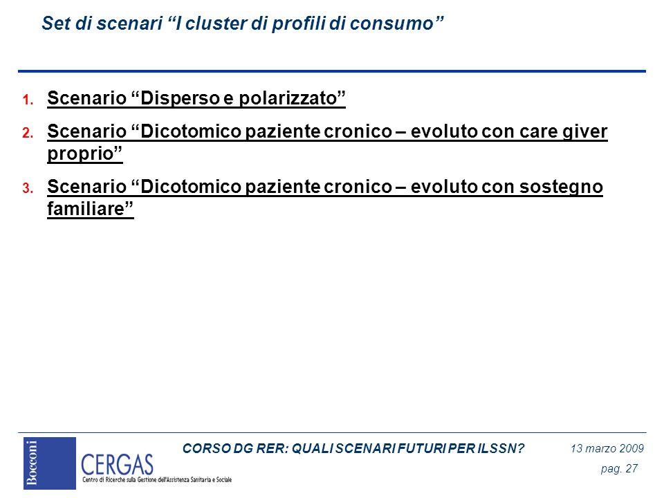 CORSO DG RER: QUALI SCENARI FUTURI PER ILSSN? 13 marzo 2009 pag. 27 Set di scenari I cluster di profili di consumo 1. Scenario Disperso e polarizzato