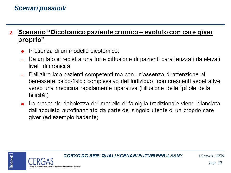 CORSO DG RER: QUALI SCENARI FUTURI PER ILSSN? 13 marzo 2009 pag. 29 2. Scenario Dicotomico paziente cronico – evoluto con care giver proprio l Presenz