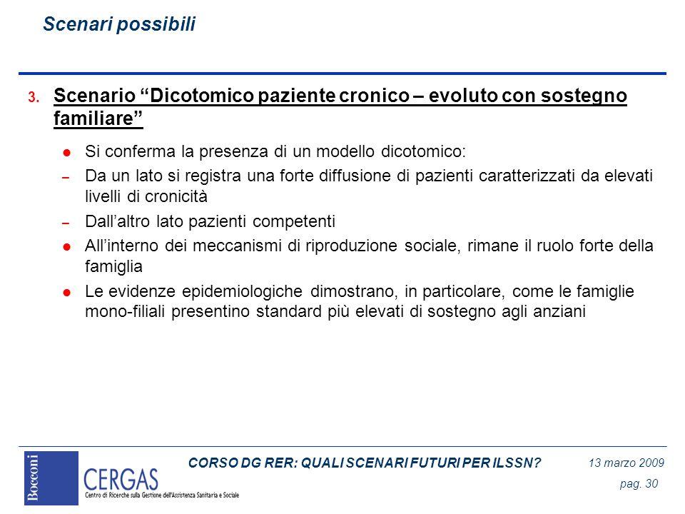 CORSO DG RER: QUALI SCENARI FUTURI PER ILSSN? 13 marzo 2009 pag. 30 3. Scenario Dicotomico paziente cronico – evoluto con sostegno familiare l Si conf