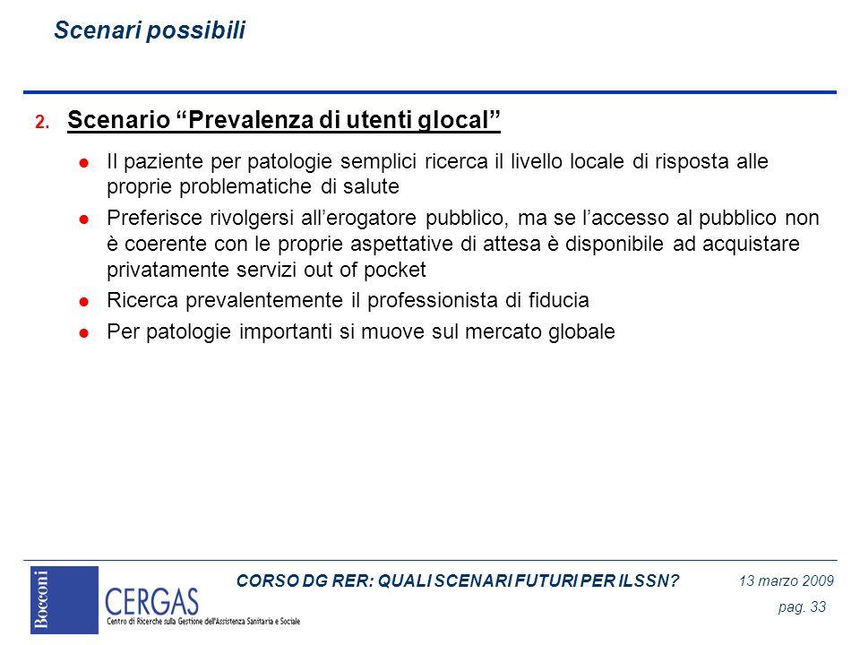 CORSO DG RER: QUALI SCENARI FUTURI PER ILSSN? 13 marzo 2009 pag. 33 2. Scenario Prevalenza di utenti glocal l Il paziente per patologie semplici ricer