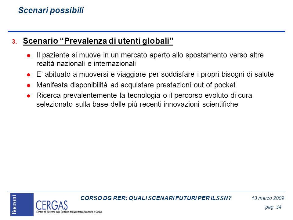 CORSO DG RER: QUALI SCENARI FUTURI PER ILSSN? 13 marzo 2009 pag. 34 3. Scenario Prevalenza di utenti globali l Il paziente si muove in un mercato aper