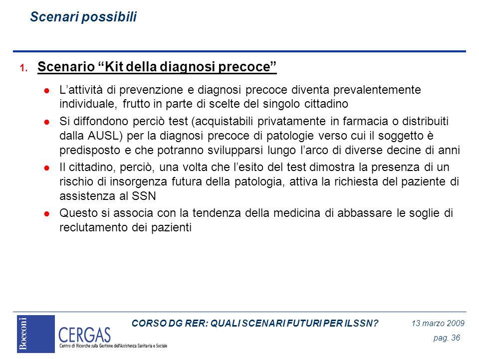 CORSO DG RER: QUALI SCENARI FUTURI PER ILSSN? 13 marzo 2009 pag. 36 1. Scenario Kit della diagnosi precoce l Lattività di prevenzione e diagnosi preco