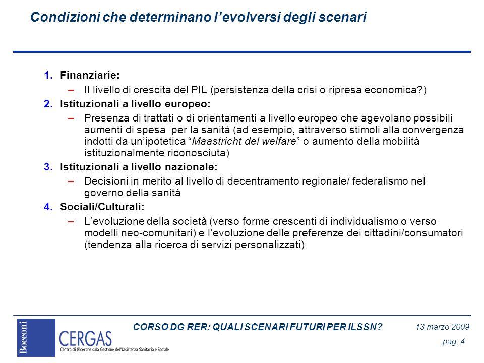 CORSO DG RER: QUALI SCENARI FUTURI PER ILSSN? 13 marzo 2009 pag. 4 Condizioni che determinano levolversi degli scenari 1.Finanziarie: –Il livello di c