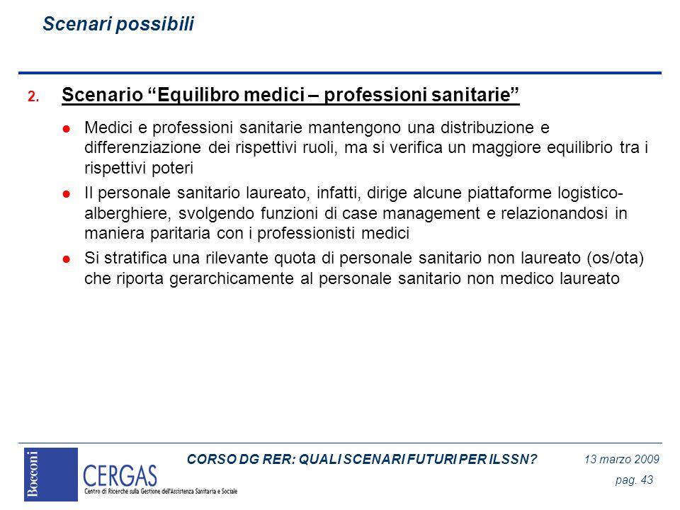 CORSO DG RER: QUALI SCENARI FUTURI PER ILSSN? 13 marzo 2009 pag. 43 2. Scenario Equilibro medici – professioni sanitarie l Medici e professioni sanita
