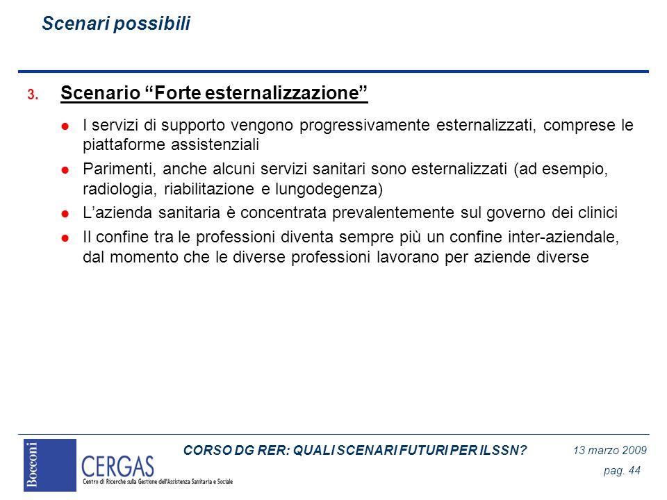 CORSO DG RER: QUALI SCENARI FUTURI PER ILSSN? 13 marzo 2009 pag. 44 3. Scenario Forte esternalizzazione l I servizi di supporto vengono progressivamen