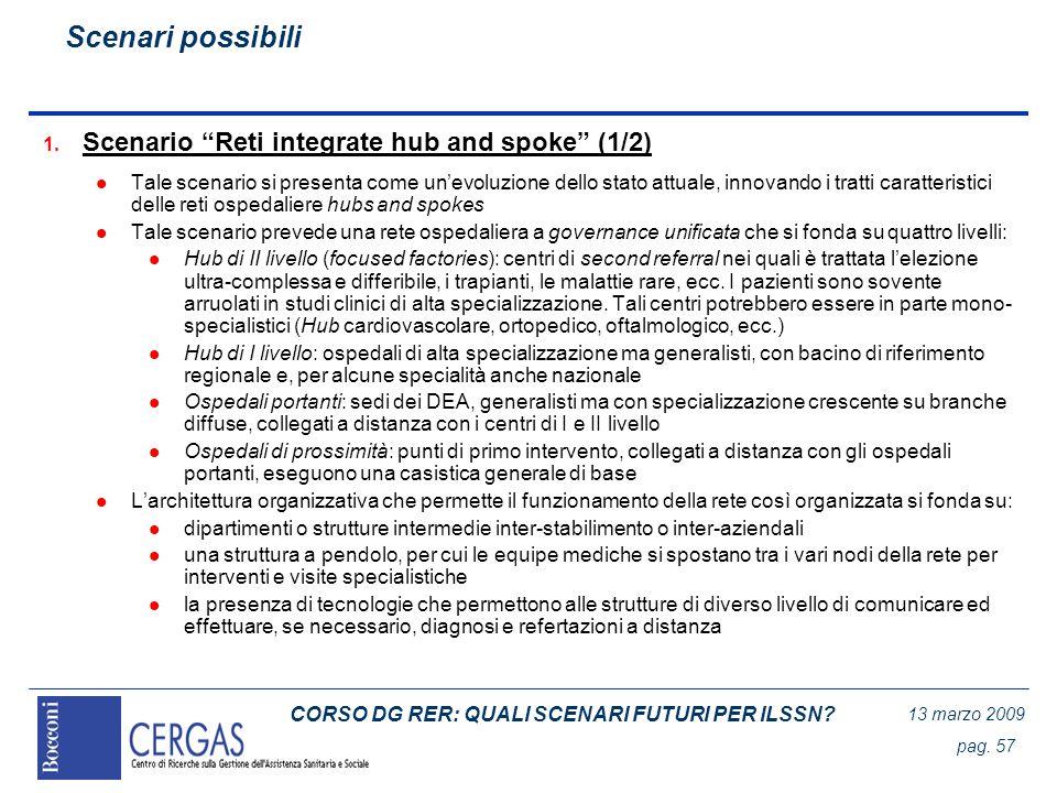 CORSO DG RER: QUALI SCENARI FUTURI PER ILSSN? 13 marzo 2009 pag. 57 1. Scenario Reti integrate hub and spoke (1/2) l Tale scenario si presenta come un