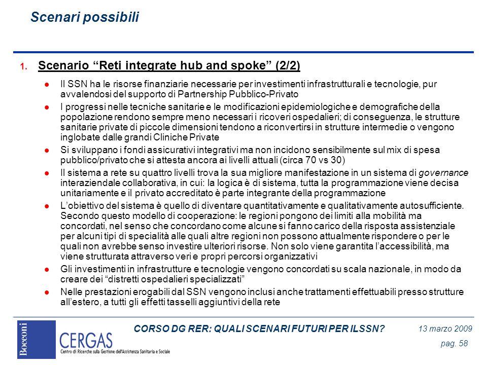 CORSO DG RER: QUALI SCENARI FUTURI PER ILSSN? 13 marzo 2009 pag. 58 1. Scenario Reti integrate hub and spoke (2/2) l Il SSN ha le risorse finanziarie