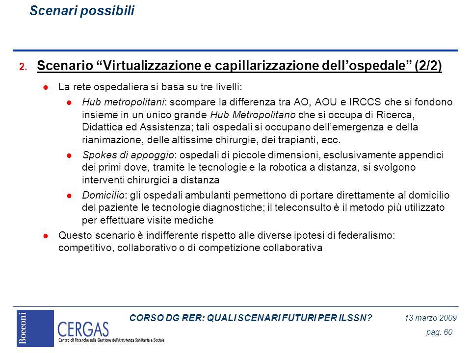 CORSO DG RER: QUALI SCENARI FUTURI PER ILSSN? 13 marzo 2009 pag. 60 2. Scenario Virtualizzazione e capillarizzazione dellospedale (2/2) l La rete ospe