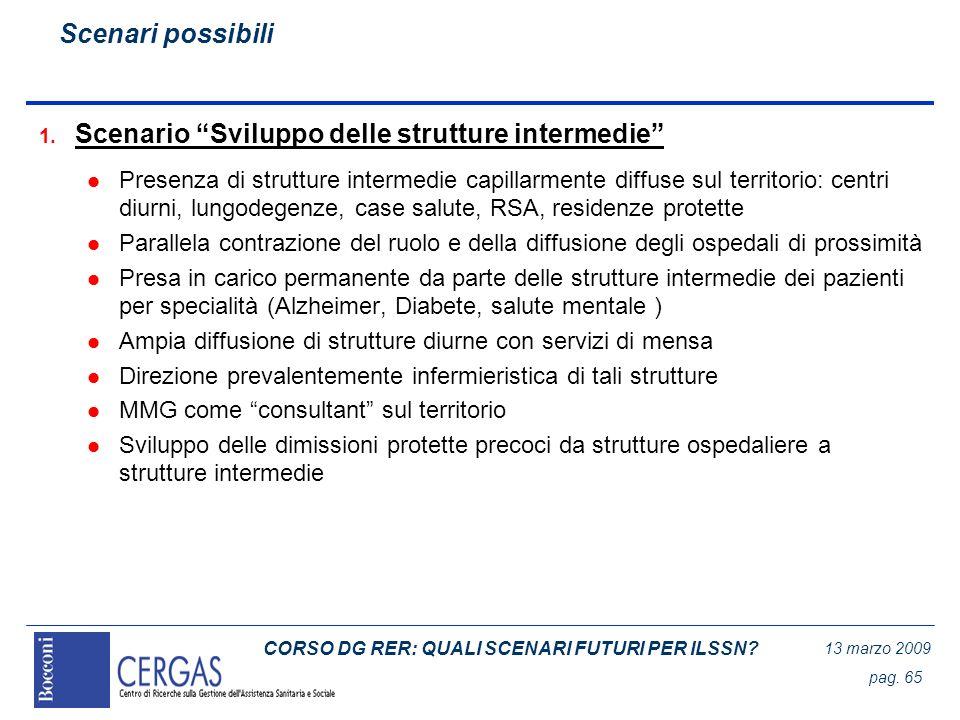 CORSO DG RER: QUALI SCENARI FUTURI PER ILSSN? 13 marzo 2009 pag. 65 1. Scenario Sviluppo delle strutture intermedie l Presenza di strutture intermedie