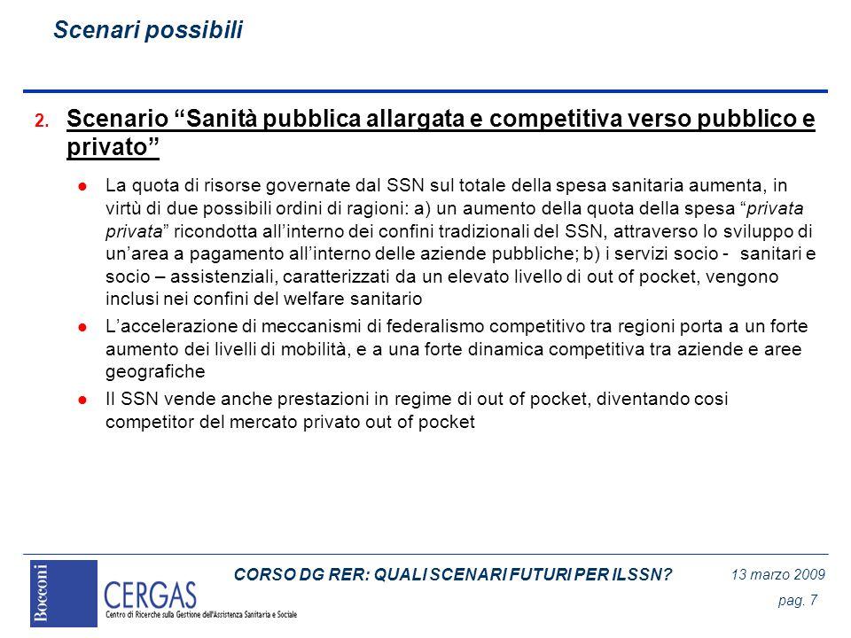 CORSO DG RER: QUALI SCENARI FUTURI PER ILSSN? 13 marzo 2009 pag. 7 2. Scenario Sanità pubblica allargata e competitiva verso pubblico e privato l La q