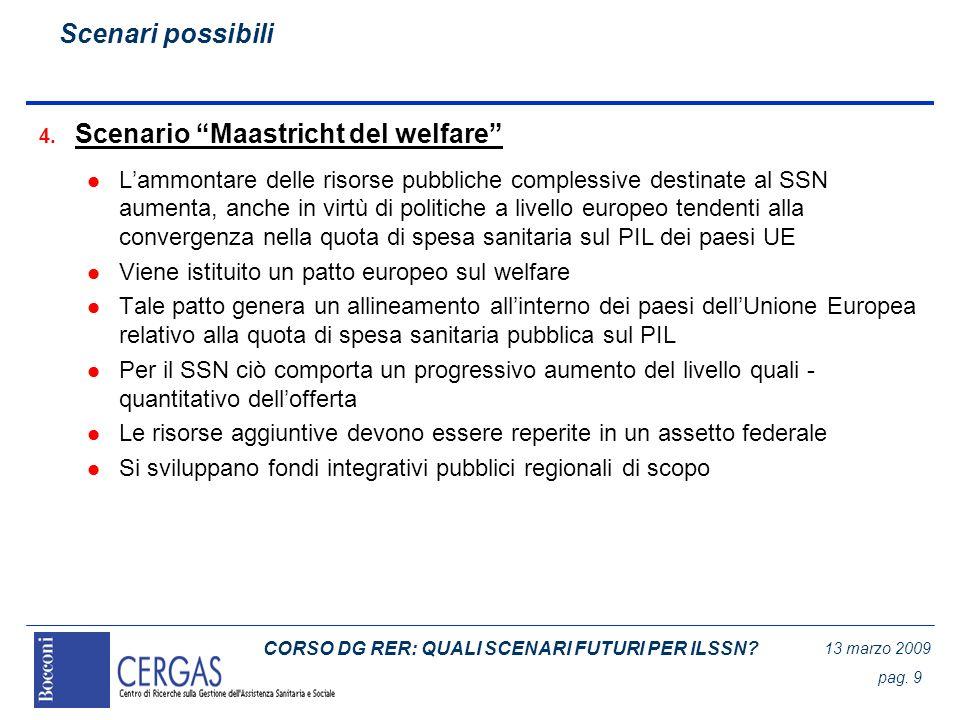 CORSO DG RER: QUALI SCENARI FUTURI PER ILSSN? 13 marzo 2009 pag. 9 4. Scenario Maastricht del welfare l Lammontare delle risorse pubbliche complessive