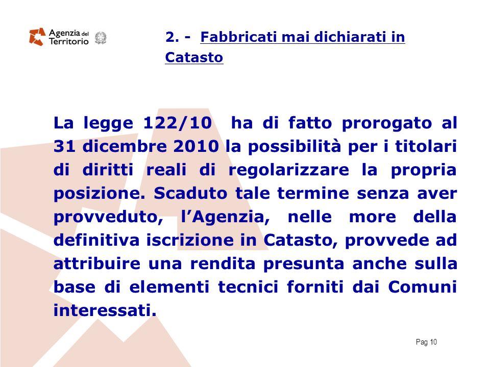 Pag 10 La legge 122/10 ha di fatto prorogato al 31 dicembre 2010 la possibilità per i titolari di diritti reali di regolarizzare la propria posizione.