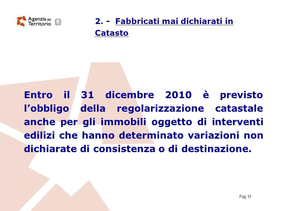 Pag 11 Entro il 31 dicembre 2010 è previsto lobbligo della regolarizzazione catastale anche per gli immobili oggetto di interventi edilizi che hanno determinato variazioni non dichiarate di consistenza o di destinazione.