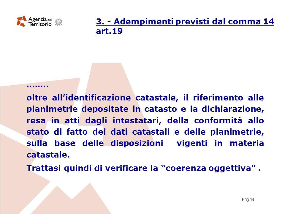 Pag 14 3. - Adempimenti previsti dal comma 14 art.19 …….. oltre allidentificazione catastale, il riferimento alle planimetrie depositate in catasto e