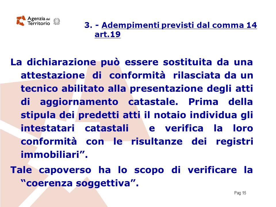 Pag 15 3. - Adempimenti previsti dal comma 14 art.19 La dichiarazione può essere sostituita da una attestazione di conformità rilasciata da un tecnico