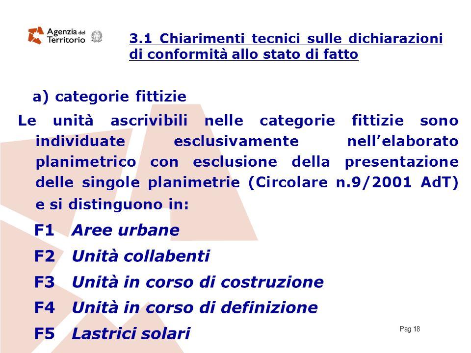 Pag 18 a) categorie fittizie Le unità ascrivibili nelle categorie fittizie sono individuate esclusivamente nellelaborato planimetrico con esclusione d