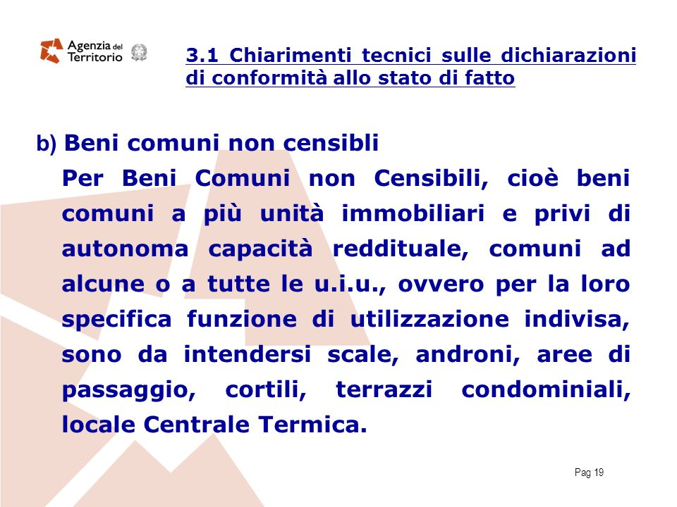 Pag 19 b) Beni comuni non censibli Per Beni Comuni non Censibili, cioè beni comuni a più unità immobiliari e privi di autonoma capacità reddituale, co