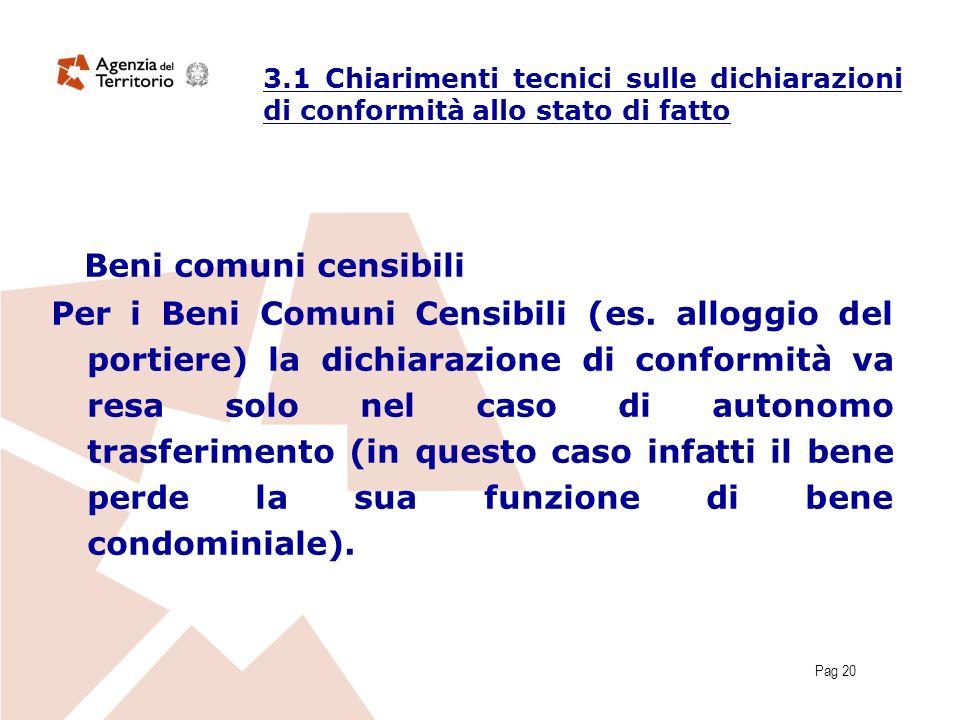 Pag 20 Beni comuni censibili Per i Beni Comuni Censibili (es. alloggio del portiere) la dichiarazione di conformità va resa solo nel caso di autonomo