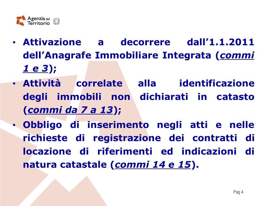 Pag 4 Attivazione a decorrere dall1.1.2011 dellAnagrafe Immobiliare Integrata (commi 1 e 3); Attività correlate alla identificazione degli immobili no