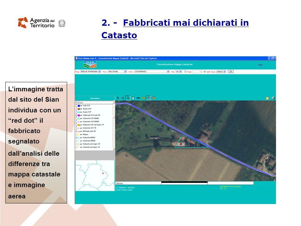 Limmagine tratta dal sito del Sian individua con un red dot il fabbricato segnalato dallanalisi delle differenze tra mappa catastale e immagine aerea 2.
