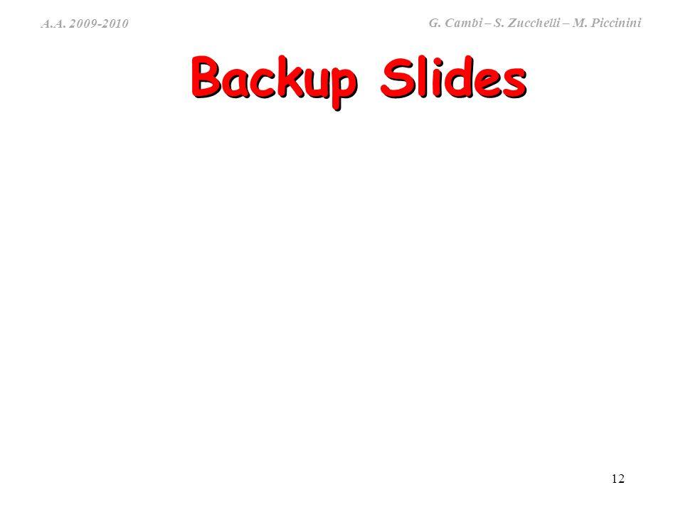 A.A. 2009-2010 G. Cambi – S. Zucchelli – M. Piccinini 12 Backup Slides