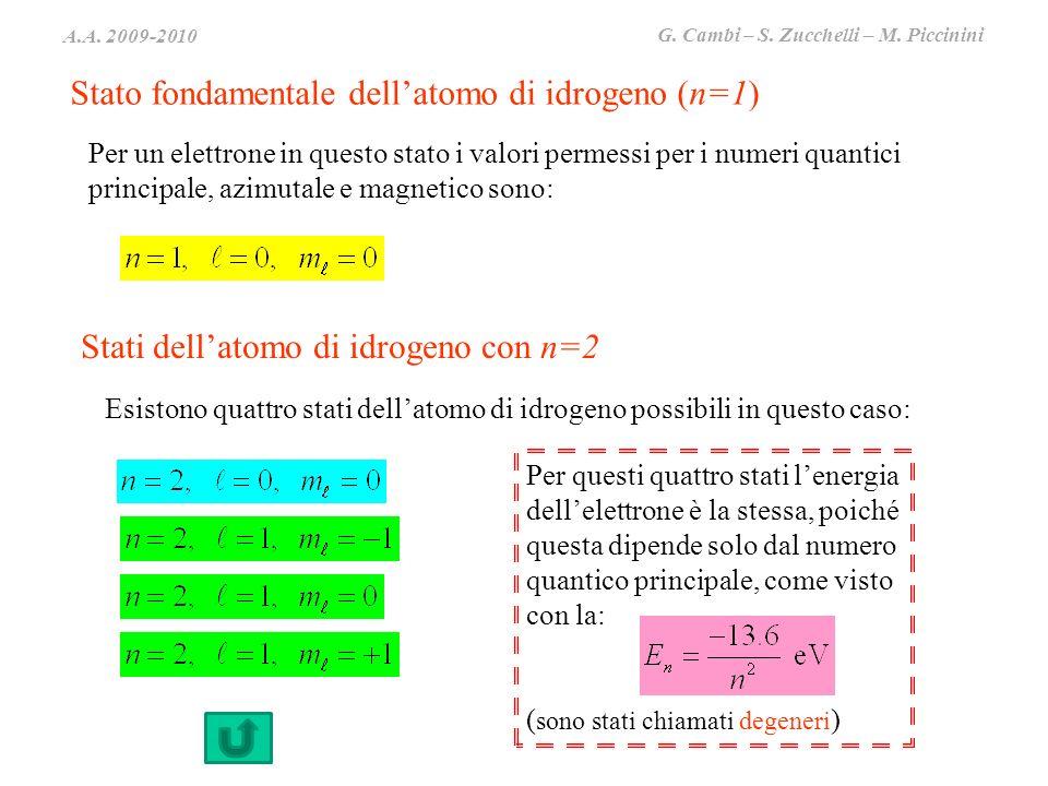 A.A. 2009-2010 G. Cambi – S. Zucchelli – M. Piccinini Stato fondamentale dellatomo di idrogeno (n=1) Per un elettrone in questo stato i valori permess