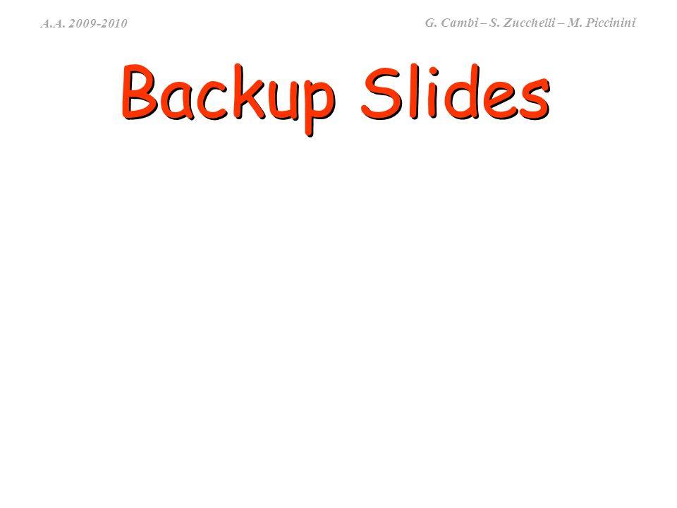 A.A. 2009-2010 G. Cambi – S. Zucchelli – M. Piccinini Backup Slides