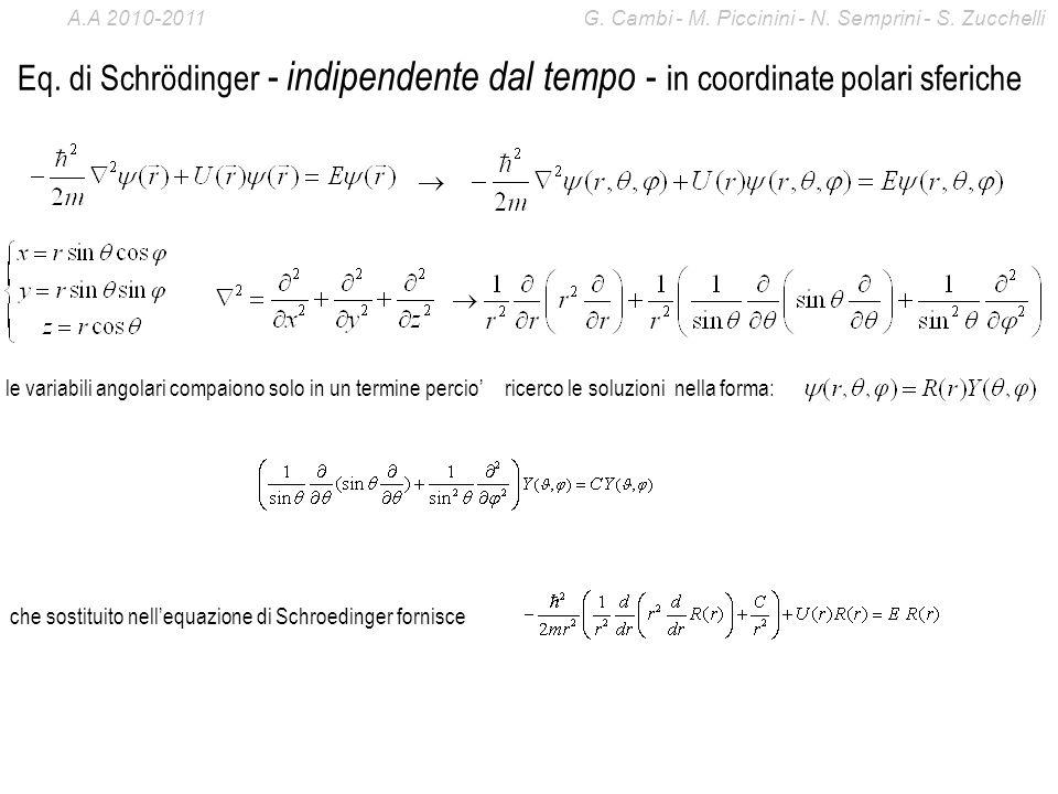 Eq. di Schrödinger - indipendente dal tempo - in coordinate polari sferiche le variabili angolari compaiono solo in un termine percio ricerco le soluz