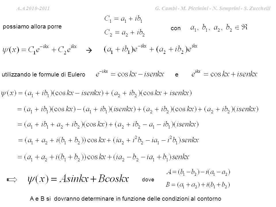 A.A. 2009-2010 G. Cambi – S. Zucchelli – M. Piccinini possiamo allora porre con utilizzando le formule di Eulero dove A e B si dovranno determinare in
