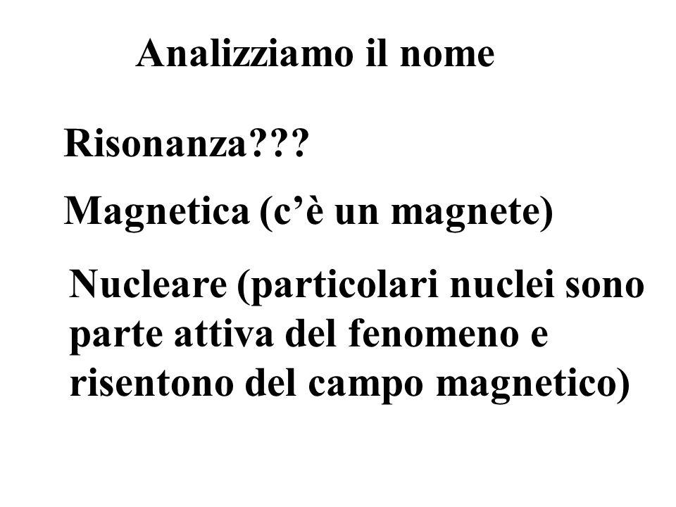 Analizziamo il nome Risonanza??? Magnetica (cè un magnete) Nucleare (particolari nuclei sono parte attiva del fenomeno e risentono del campo magnetico