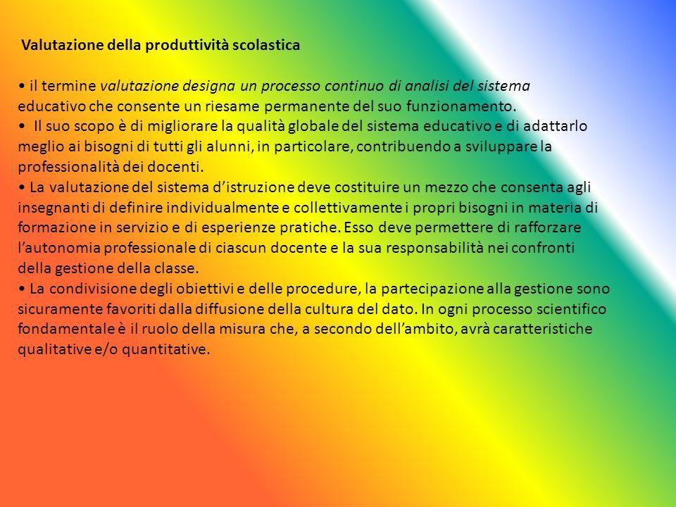 Valutazione della produttività scolastica il termine valutazione designa un processo continuo di analisi del sistema educativo che consente un riesame permanente del suo funzionamento.