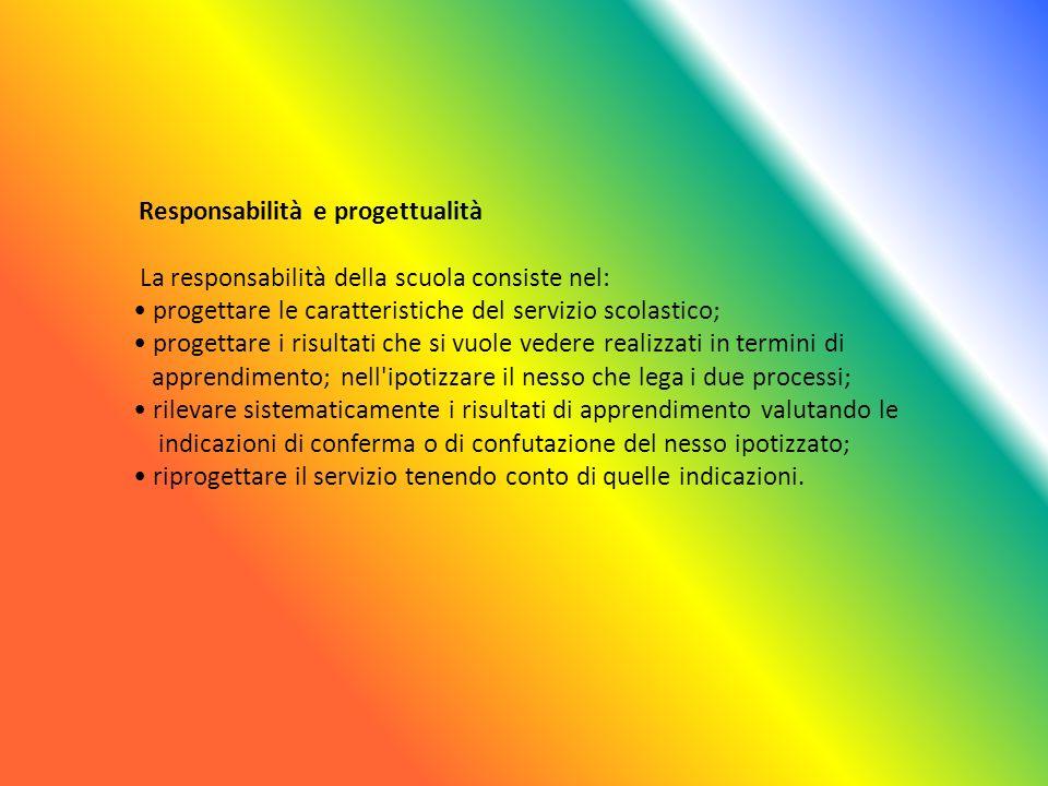 Responsabilità e progettualità La responsabilità della scuola consiste nel: progettare le caratteristiche del servizio scolastico; progettare i risult