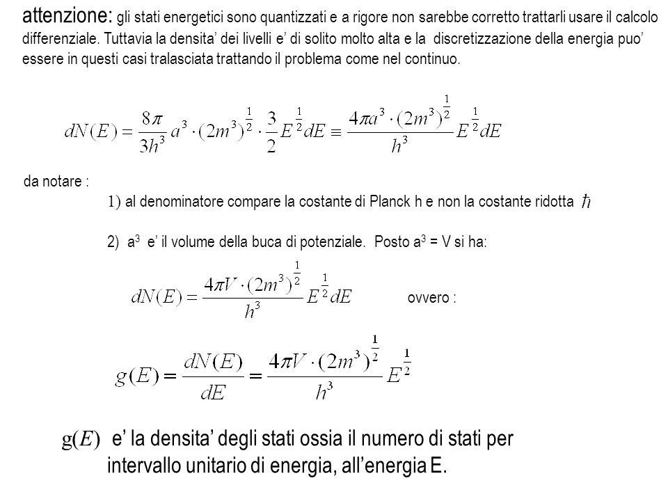 1) al denominatore compare la costante di Planck h e non la costante ridotta 2) a 3 e il volume della buca di potenziale. Posto a 3 = V si ha: ovvero