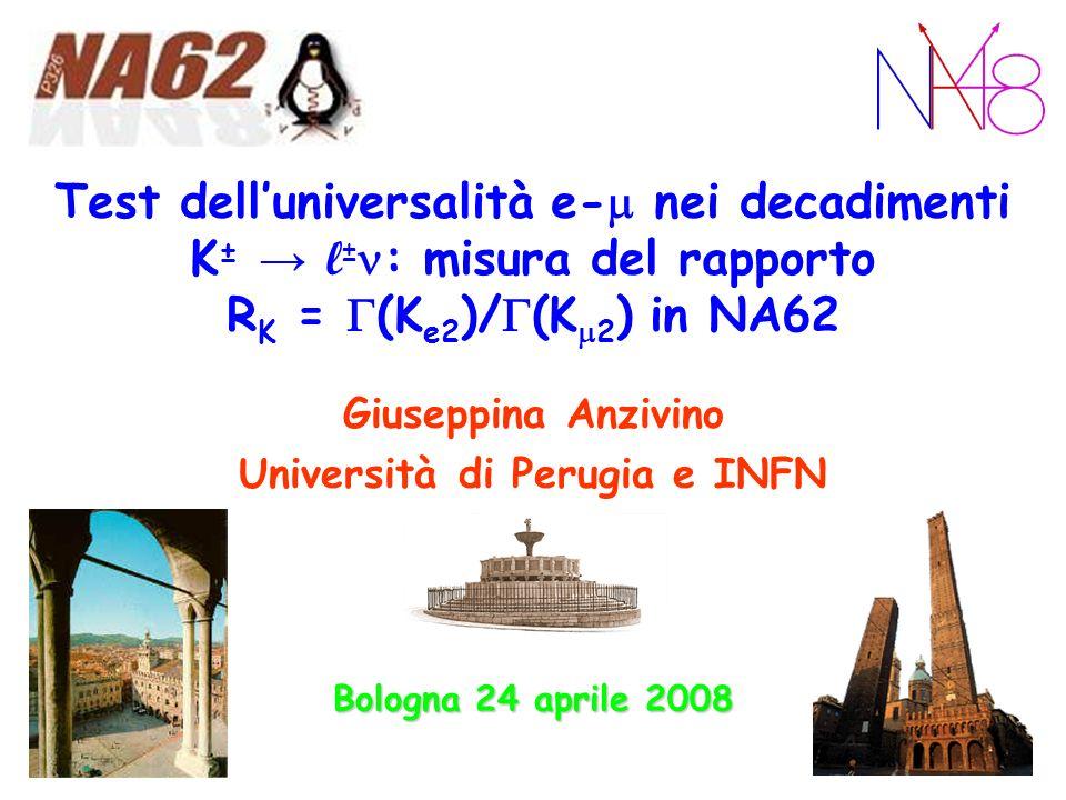 Bologna, 24-4-08 Universalità leptonica - R K 22 Background/2 p t e p track sono legate da una relazione ellittica correlata alla m miss 2 K e2 selezionati con taglio nella regione fiduciale a 3 dalla media analogamente per K 2