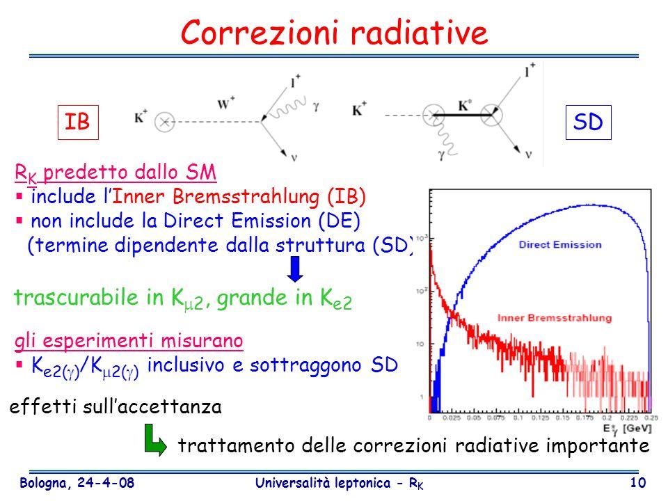 Bologna, 24-4-08 Universalità leptonica - R K 10 Correzioni radiative R K predetto dallo SM include lInner Bremsstrahlung (IB) non include la Direct E