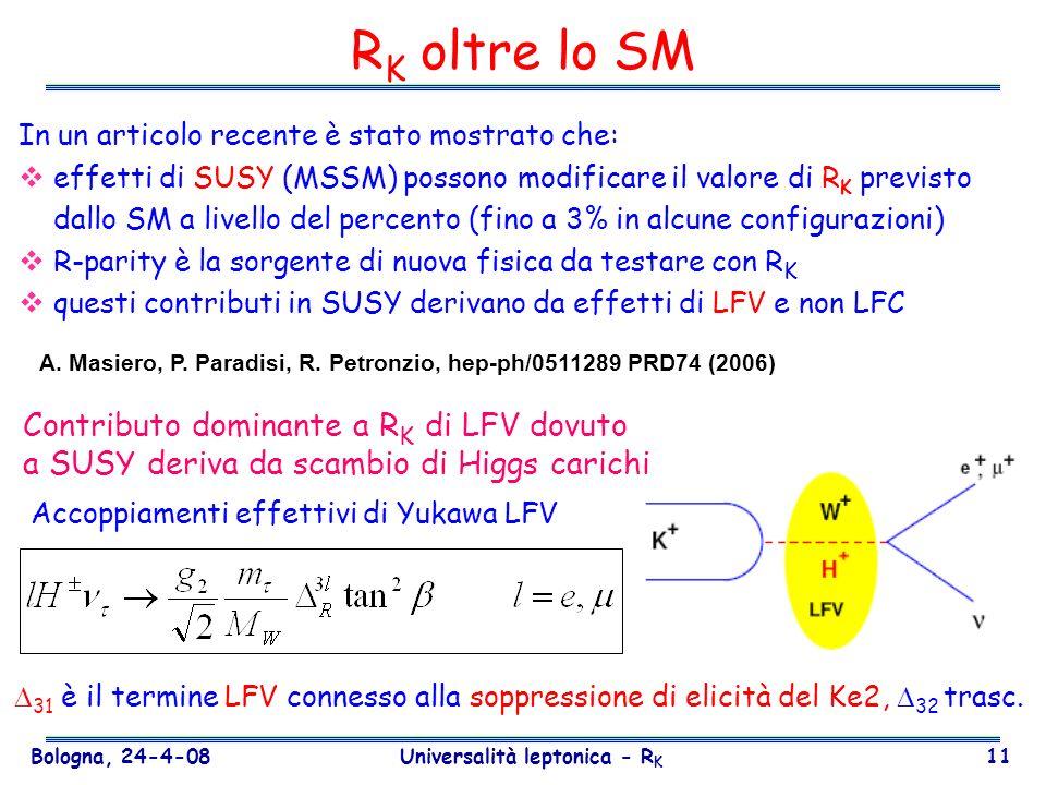 Bologna, 24-4-08 Universalità leptonica - R K 11 R K oltre lo SM In un articolo recente è stato mostrato che: effetti di SUSY (MSSM) possono modificar