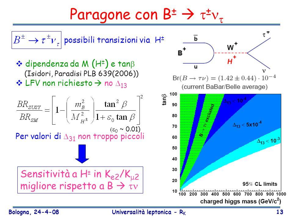 Bologna, 24-4-08 Universalità leptonica - R K 13 Paragone con B ± ± possibili transizioni via H ± Per valori di 31 non troppo piccoli Sensitività a H
