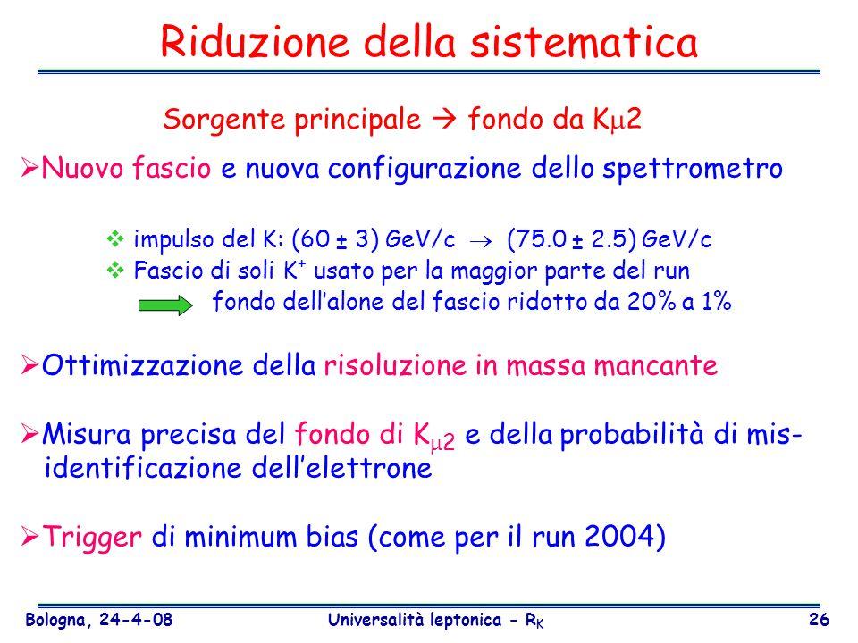 Bologna, 24-4-08 Universalità leptonica - R K 26 Riduzione della sistematica Nuovo fascio e nuova configurazione dello spettrometro impulso del K: (60
