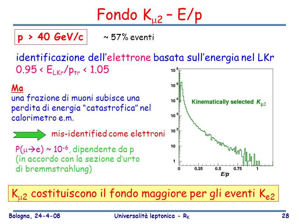 Bologna, 24-4-08 Universalità leptonica - R K 28 Fondo K 2 – E/p identificazione dellelettrone basata sullenergia nel LKr 0.95 < E LKr /p tr < 1.05 P(
