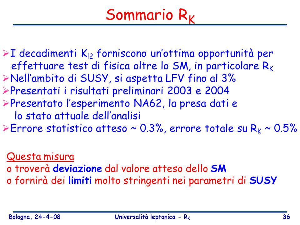 Bologna, 24-4-08 Universalità leptonica - R K 36 Sommario R K I decadimenti K l2 forniscono unottima opportunità per effettuare test di fisica oltre l
