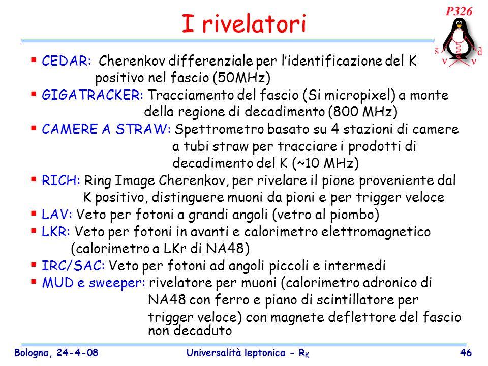 Bologna, 24-4-08 Universalità leptonica - R K 46 I rivelatori CEDAR: Cherenkov differenziale per lidentificazione del K positivo nel fascio (50MHz) GI
