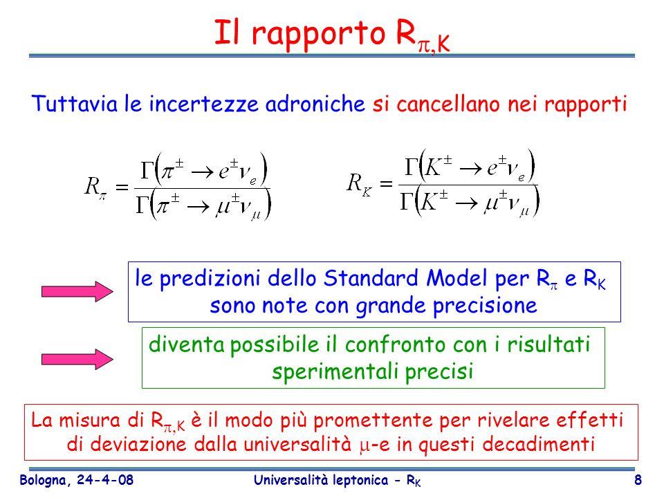 Bologna, 24-4-08 Universalità leptonica - R K 19 Strategia della misura N(K l2 ) = numero di eventi selezionati N BG (K l2 ) = numero eventi di fondo Acc(K l2 ) = accettanza geometrica TR (K l2 ) = efficienza del trigger PID (K l2 )= efficienza della selezione D = downscaling del trigger Eventi K e2 e K μ2 raccolti contemporaneamente rapporto indipendente dal flusso.